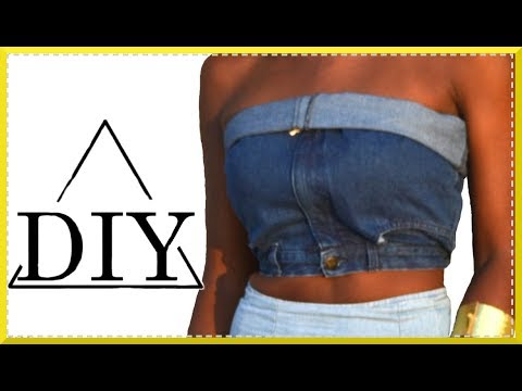 Easiest Way to Make a Denim Crop Top no sewing no glue | SHANiA