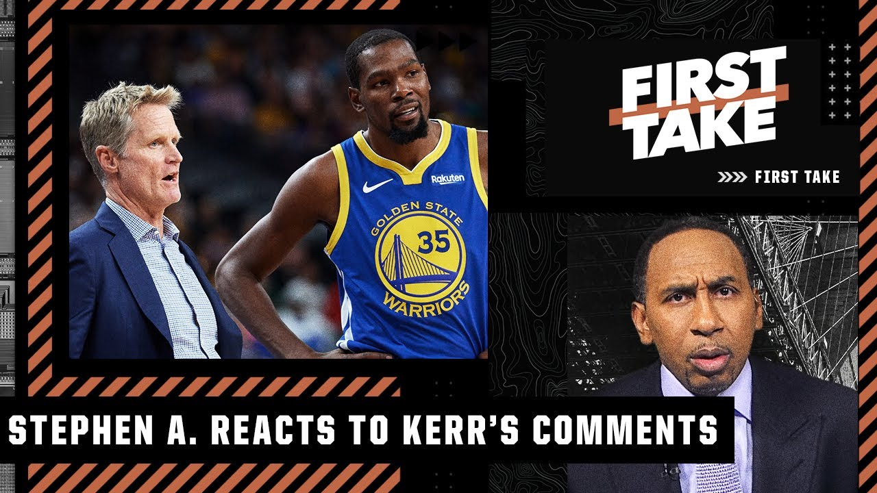 Stephen A. reacts to Steve Kerr calling KD 'more gifted' than MJ | First Take