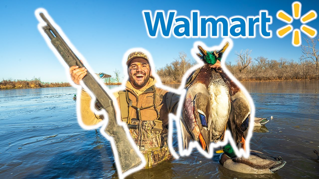 WALMART Duck Hunting CHALLENGE at My FARM!!! Catch Clean Cook