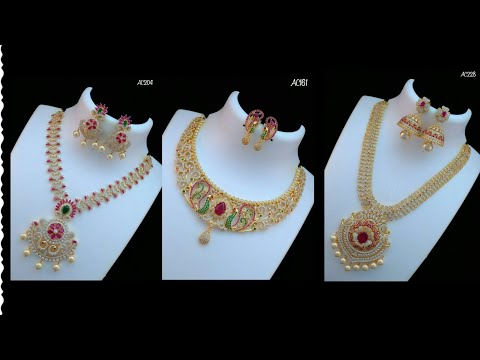 New Arrivals Cz Stone Necklace and Jhumka with price || 1 gram gold jewelry with price
