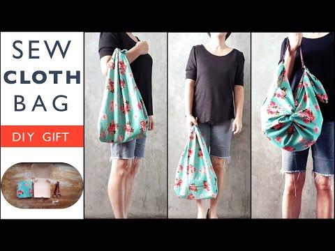 DIY GIFT : Sew Cloth Bag with Leather Strap, Furoshiki Style !