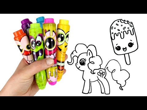 Drawing & Coloring with Surprise Toys Popsicle Lipstick Pinkie Pie MLP Num Noms Moj Moj Lalaloopsy