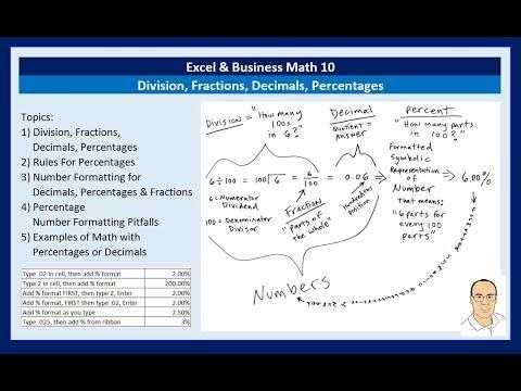 Excel & Business Math 10: Division, Fractions, Decimals, Percentages: Number Formatting & Formulas