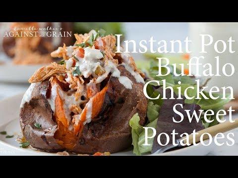 Buffalo Chicken Stuffed Sweet Potato Instant Pot | Danielle Walker