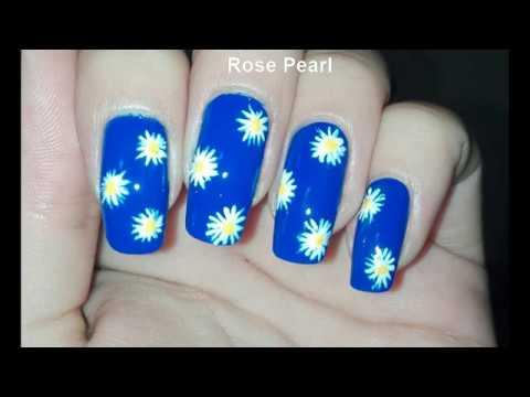 Blue Daisy Flower Nail Art Tutorial for Spring/Summer | Rose Pearl