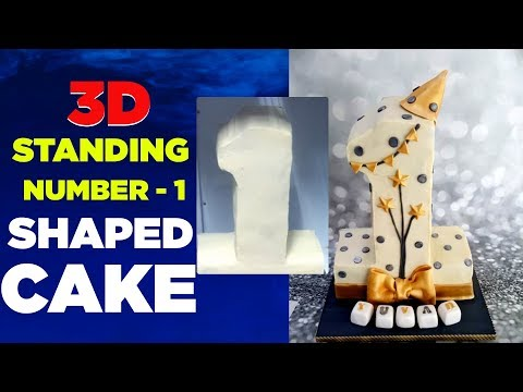 3D Standing Number 1 Shaped Cake | How To Make 3D Standing Number Cake Topper