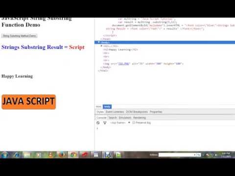STRINGS SUBSTRING METHOD IN JAVASCRIPT   DEMO