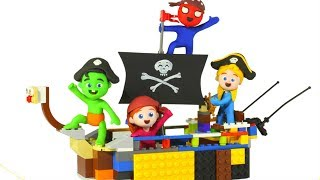KIDS BUILDING A PIRATE BOAT ❤ PLAY DOH CARTOONS FOR KIDS