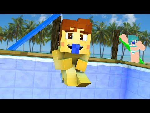 Minecraft Daycare - POOL PARTY KISS !?