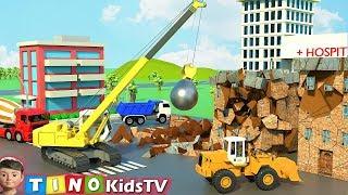Wrecking Ball Crane & Construction Trucks for Kids | Hospital Construction for Children