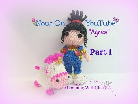 Rainbow Loom Agnes Doll Part 1 of 2 - Loomigurumi / Amigurumi Hook Only Лумигуруми