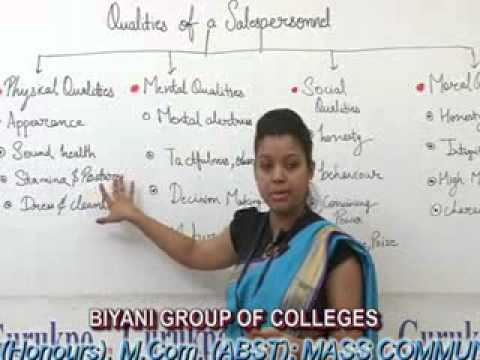 Qualities of a salesman Lecture, BBA  by Ms. Chitrangi Sharma.