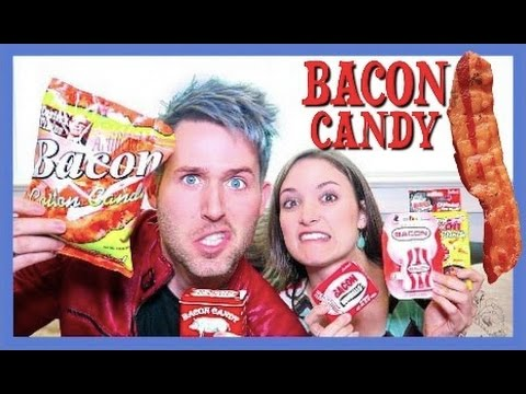 TASTING BACON CANDY (with my little sister)