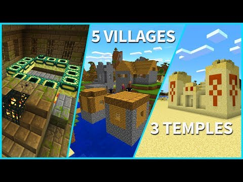 Minecraft PE Seeds - SUPER RARE! 5 Villages + 3 Desert Temples + Stronghold // MCPE 1.2 / Xbox / W10