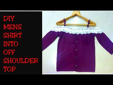 DIY Men's Shirt into Off Shoulder Shirt Dress in 5 minutes|| Re-use of Old Men's Shirt||