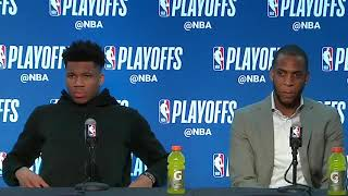 Giannis Antetokounmpo & Khris Middleton Postgame Interview / Bucks vs Celtics Game 3