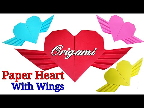 Paper Heart With Wings | How To Make Paper Heart With Wings | Origami Winged Heart
