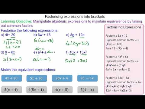 Factorising Expressions into Brackets