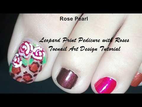 Leopard Print Pedicure with Roses (Safari Prints): Toenail Art Design Tutorial | Rose Pearl