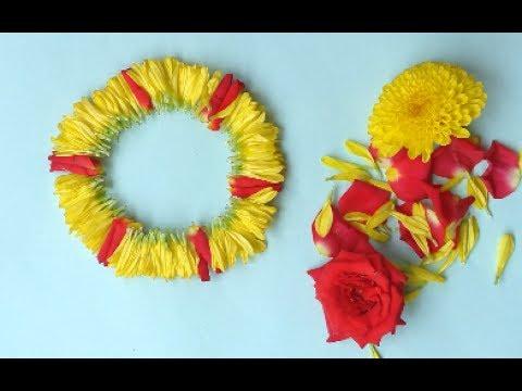 Different method to tie flower/Garland making with rose,chrysanthemum flower | Pola Jadai/veni/gajra