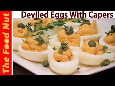 Easy Easter Deviled Eggs Recipe With Capers - How To Make Mimosa Stuffed Eggs Filling | The Food Nut