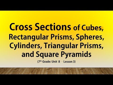 Cross Sections Cubes Rectangular Prisms, Spheres, Cylinders, Triangular Prisms, & Squares (7th U8#3)