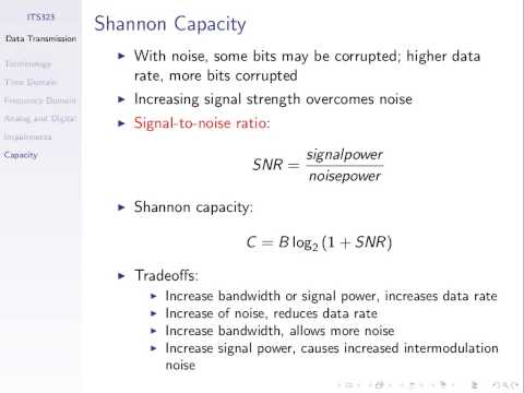 Nyquist and Shannon Capacity (ITS323, Lecture 10, 2014)