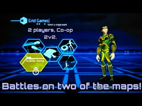 Wii Tron Evolution: Battle Grids G11, 2P local splitscreen 2v2, Runner Battle on Corkscrew Pinwheel.