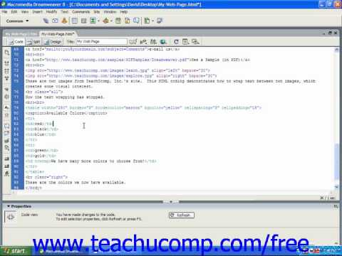 HTML Tutorial Adding a Background Color to a Cell Training Lesson 9.12
