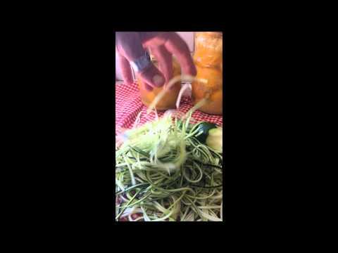 Making courgette spaghetti