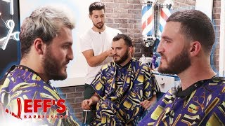 HOW TO FIX A RECEDING HAIRLINE   Jeff's Barbershop ft. Zane Hijazi