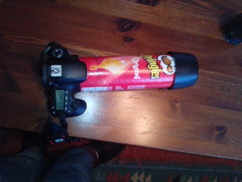 DIY macro extension tube for DSLR camera with a pringles can