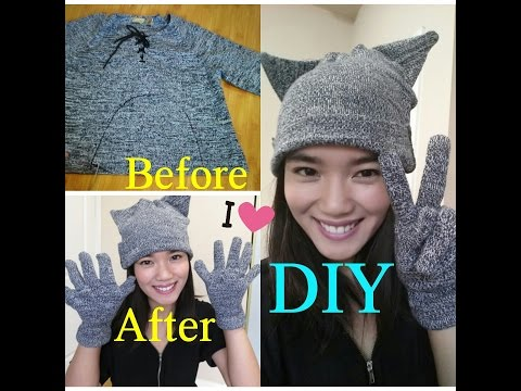 DIY: CAT Beanie & Gloves (from an old sweater)