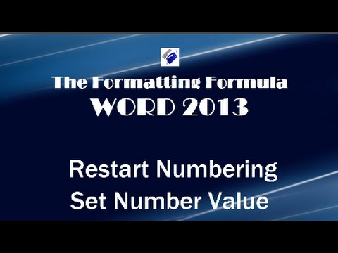 Word 2013   Restart Numbering and Set Number Value