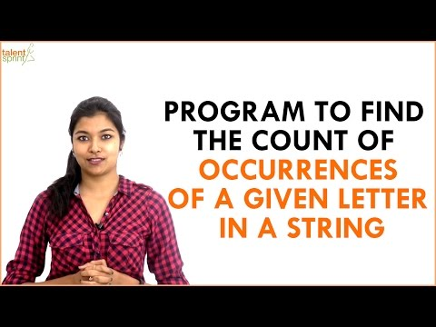 Find the Count of Occurrences of a Given Letter in a String | Java Programming | TalentSprint
