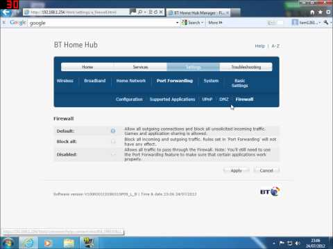 How to open Ports on Bt homehub 3.0