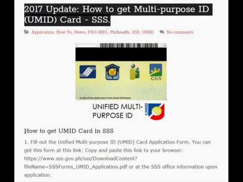 2017 Update How to get Multi purpose ID UMID Card at SSS branch.