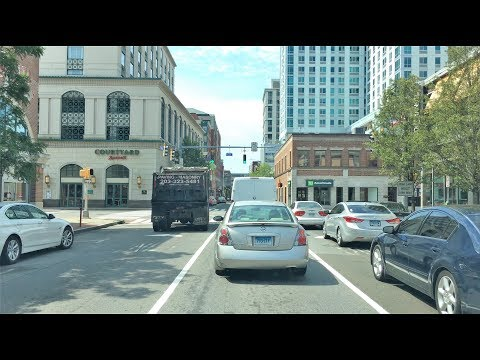 Driving Downtown - Stamford 4K - Connecticut USA