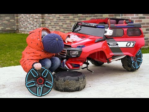 The wheels fell off on Police car Kid ride on Power Wheels Jeep Fun cars video for kids