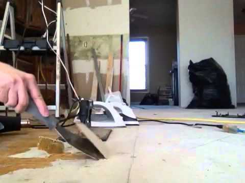 Removing old linoleum hardened glue backing from subfloor