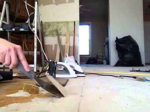 Removing old linoleum hardened glue backing from subfloor