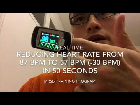Lower heart rate from 87 to 57 BPM in 50 seconds (real time)