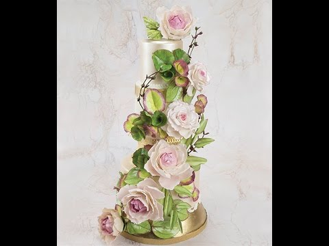 Cake Trend-  Floral and Exotic Foliage Swag Cake