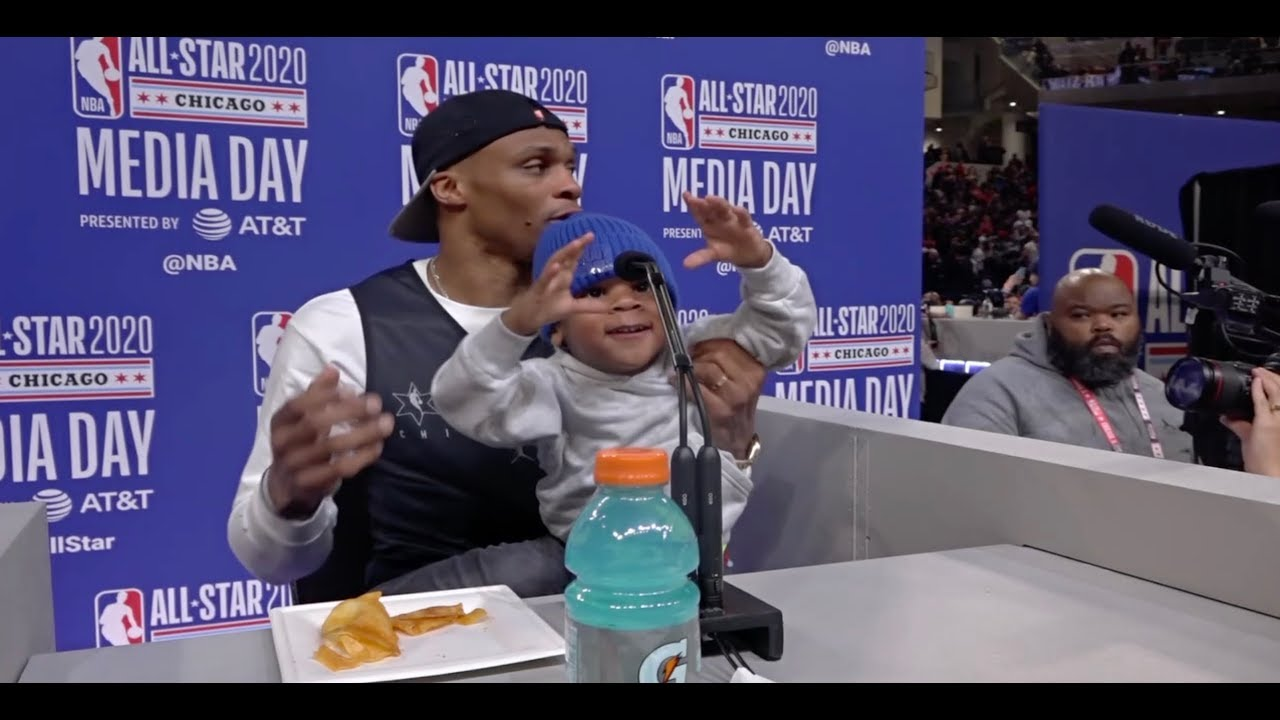 Russell Westbrook Brings Son To Podium, Talks Joining James Harden   NBA All-Star 2020 Media Day