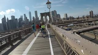 Cycling the Brooklyn Bridge with brass bell and Loud Mini car horn