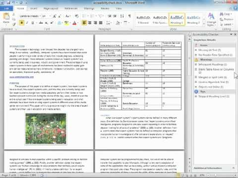 Creating Accessible Documents in Word 2010
