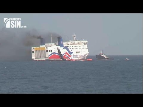 Continúa incendio en ferry salió desde RD hacia Puerto Rico