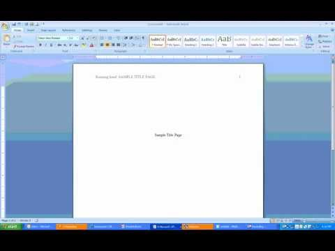 How to create APA Headers and Title Page using MS Word 2007
