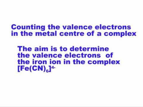 Number of valence electrons in metal ion in a complex