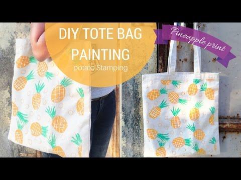 DIY Pineapple Tote bag | Potato stamping method
